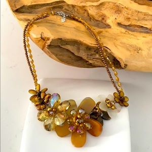 Statement bib collar Crystal and Stone Necklace